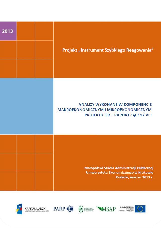Analizy wykonane w komponentach mikroekonomicznym  i makroekonomicznym projektu ISR – VIII raport łączny
