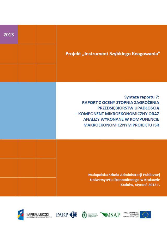 Synteza raportu ISR - Ocena stopnia zagrożenia przedsiębiorstw upadłością - VII